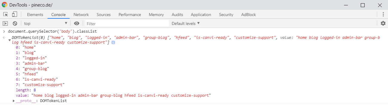 Example classList object in Chrome Developer Tools