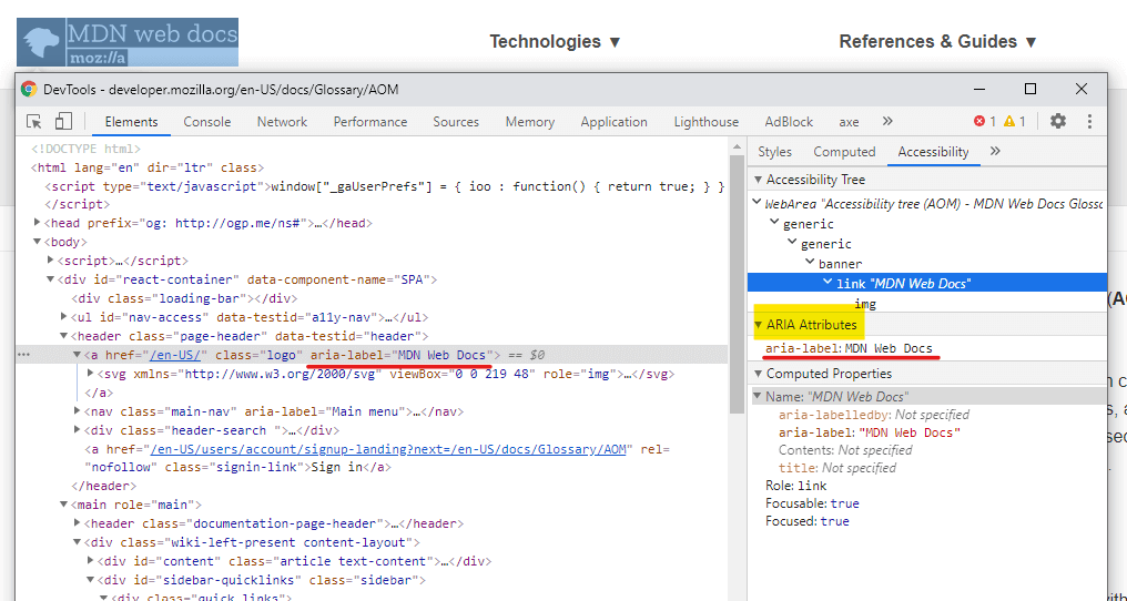 Showing Chrome developer tools's accessibility panel.